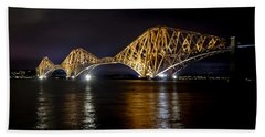 Bridge Over Water Lights. Beach Towel