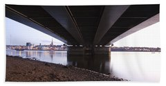 Beach Towel featuring the photograph Bridge Over Wexford Harbour by Ian Middleton