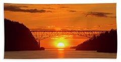 Bridge Sunset Beach Towel