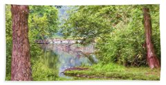 Beach Sheet featuring the photograph Bridge Through The Trees - Impasto Style Art by Kerri Farley