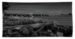 Bridge To Longboat Key In Bw Beach Towel