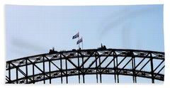 Beach Towel featuring the photograph Bridge Walk by Stephen Mitchell