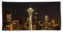 Bright At Night - Space Needle Beach Towel by E Faithe Lester