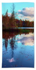 Bright Colors Of Autumn Reflected In The Still Waters Of A Beautiful Forest Lake Beach Towel