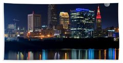 Bright Lights City Nights Beach Sheet by Frozen in Time Fine Art Photography