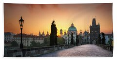 Bright Morning In Prague, Czech Republic Beach Sheet