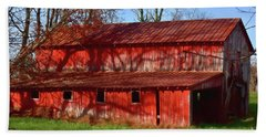 Bright Red Barn Beach Sheet by Kathy Russell