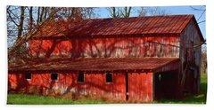 Bright Red Barn Beach Sheet