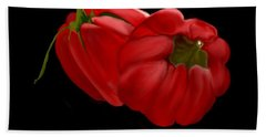 Bright Red Peppers Beach Towel