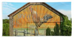 Bright Rooster Barn Beach Towel
