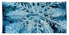 Bright Snowflake Beach Sheet by Kathy Bassett