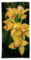 Bright Yellow Orchids Beach Towel