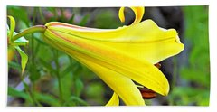Bright Yellow Trumpet Lily Beach Towel