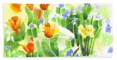 Beach Towel featuring the painting Brightly April Flowers by Kip DeVore