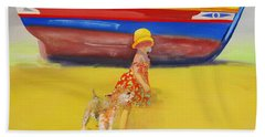 Brightly Painted Wooden Boats With Terrier And Friend Beach Towel