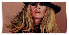 Brigitte Bardot Painting 1 Beach Sheet