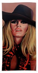 Brigitte Bardot Painting 1 Beach Sheet