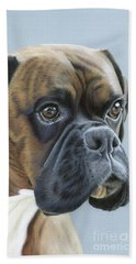 Beach Towel featuring the painting Brindle Boxer Dog - Jack by Donna Mulley
