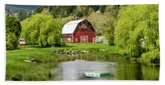Brinnon Washington Barn By Pond Beach Sheet by Teri Virbickis