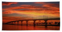 Bridge Sunrise Beach Towel by Tom Claud
