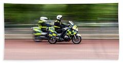 British Police Motorcycle Beach Towel