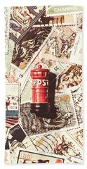 British Post Box Beach Towel by Jorgo Photography - Wall Art Gallery