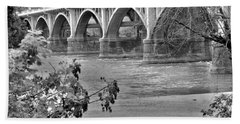 Gervais Street Bridge Black And White Beach Towel