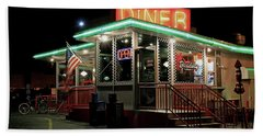 Beach Towel featuring the photograph Broadway Diner by Christopher McKenzie