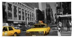 New York Broadway - Yellow Taxi Cabs Beach Sheet