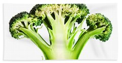 Broccoli Cutaway On White Beach Towel by Johan Swanepoel