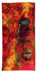 Broken Mask Encaustic Beach Towel