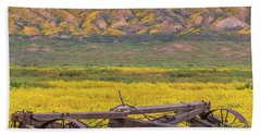 Beach Towel featuring the photograph Broken Wagon In A Field Of Flowers by Marc Crumpler