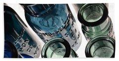 Bromo Seltzer Vintage Glass Bottles - Rare Green And Blue Beach Towel