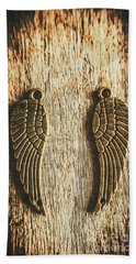 Bronze Angel Wings Beach Towel