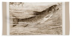 Brook Trout Going After A Fly Beach Towel by John Stephens