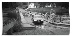 Beach Towel featuring the photograph Brookfield, Vt - Floating Bridge 3 Bw by Frank Romeo