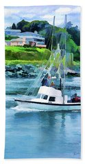 Beach Towel featuring the photograph Brookings Boat Oil Painting by Wendy McKennon