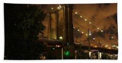 Brooklyn Bridge At Night Beach Towel