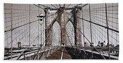 Brooklyn Bridge By Art Farrar Photographs, Ny 1930 Beach Towel