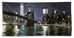 Brooklyn Bridge, East River At Night Beach Towel