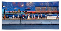 Brooklyn Bridge Fireworks Beach Towel