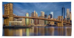 Beach Towel featuring the photograph Brooklyn Bridge From Dumbo by Susan Candelario