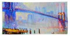 Brooklyn Bridge In A Foggy Morning Beach Towel by Ylli Haruni