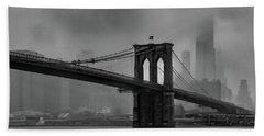 Brooklyn Bridge In A Storm 2 Beach Sheet