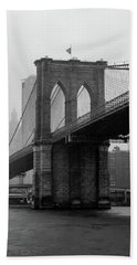Brooklyn Bridge In A Storm Beach Towel