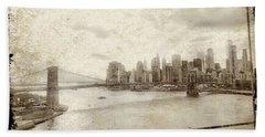 Beach Towel featuring the painting Brooklyn Bridge by Joan Reese