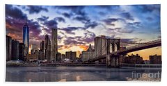 Brooklyn Bridge Manhattan Sunset Beach Towel