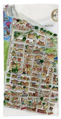 Brooklyn Heights Map Beach Towel