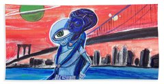 Beach Towel featuring the painting Brooklyn Play Date by Similar Alien