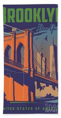 Brooklyn Vintage Travel Poster Beach Sheet